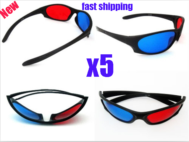 free shipping new-view 5x Red Blue 3D glass 3D TV Movie  Myopia & General  NVIDIA VISION Glasses
