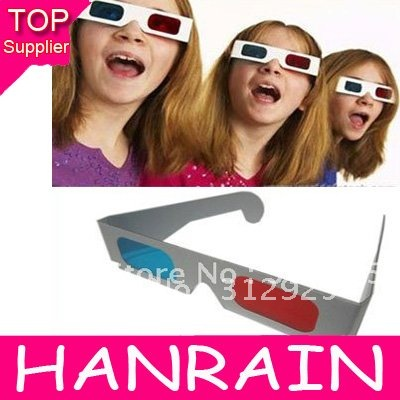 Hot sale Red+Blue/Green+Magenta paper 3d glasses  3d eyewear for movie game 500pcs/lot