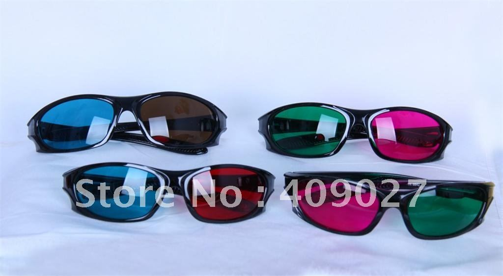 4 Pairs different colors 3D Dimensional Anaglyph 3D Glasses