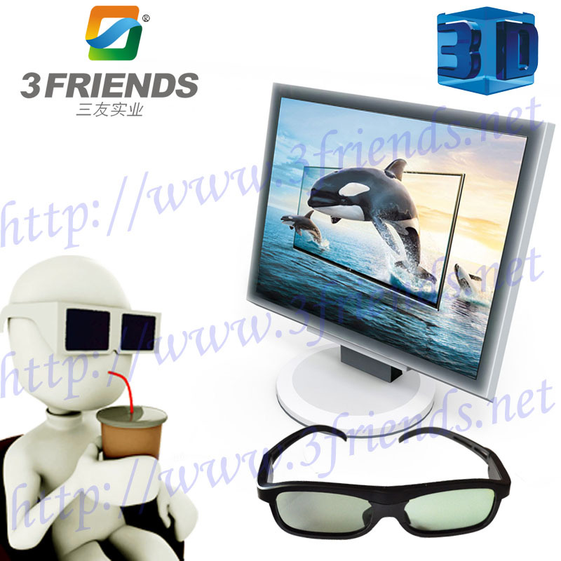 Wholesale Portable SY-13 Active Shutter 3D glasses for TV Black