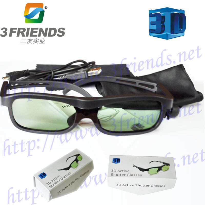 Portable Active Shutter 3D glasses for TV USB Rechargeable