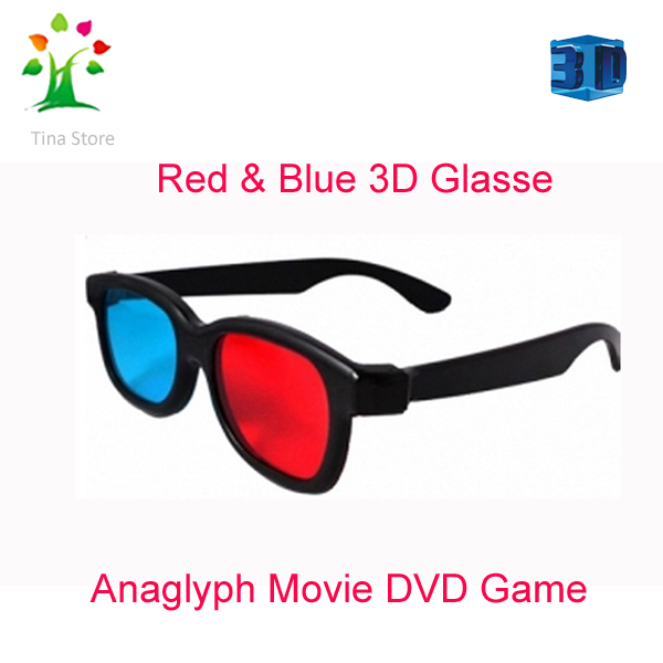 Free Shipping 10pcs/lot Red cyan computer games 3d glasses 3d movie red cyan anaglyph 3d glass