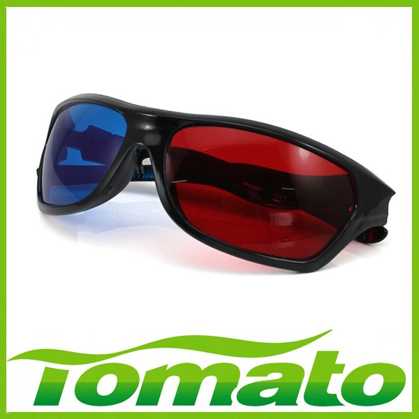 Hot  Red Blue Anaglyphic 3D Glasses with Plastic Framed, 3D moive TV video glasses 3D anaglyphic Movie DVD Game glasses