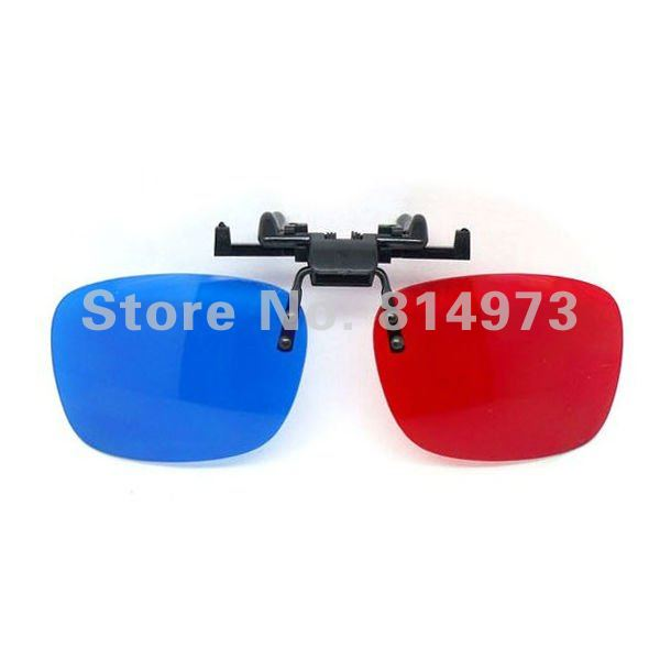 free shipping 5 pcs/lot 3D glasses clip on Anaglyphic Blue + Red Color Lens 3D Glasses for short-sighted Watching 3D TV  Movie