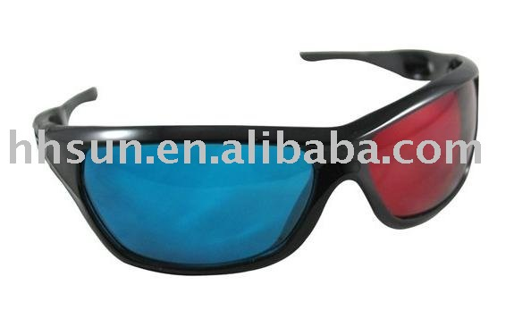[HOT SELLING!] WHOLESALE 10pcs/lot Red/Blue 3D GLASSES Plastic for 3D movie game