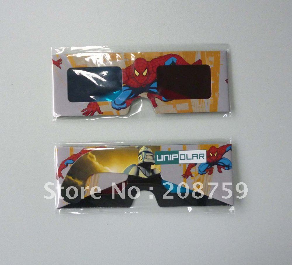 Big Size Promotional Paper 3D Glasses, cheap price, printed with the spider man