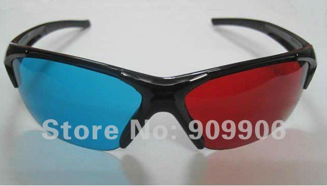 Red/Blue Anaglyph 3D GLASSES Semi-framed glasses Spherical lens for movie game