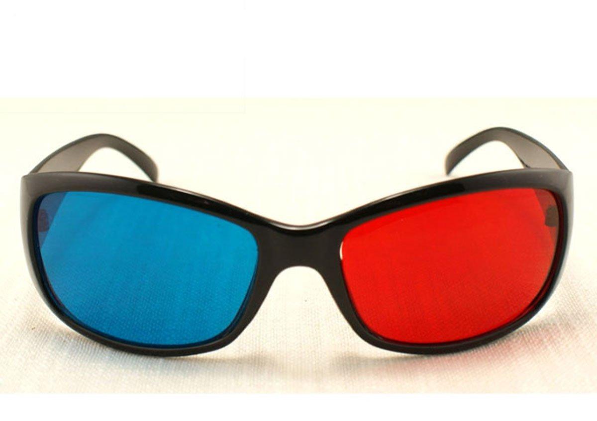 2PCS/LOT 3D glasses/Re-useable Plastic Frame Resin Lens Anaglyphic Blue&Red 3D Glasses