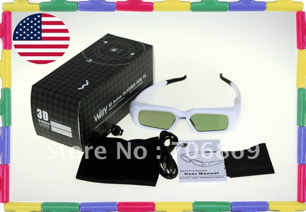 [B-WHITE-DLP]Universal New Rechargeable 3D Active Shutter Ready DLP-Link Glasses Projectors for Acer Mitsubishi Optoma BenQ