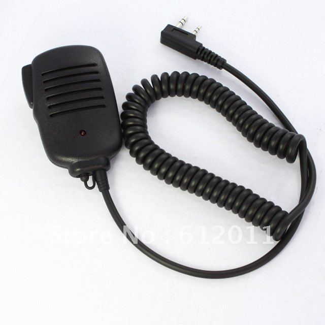 free shipping 2 PIN Handheld PTT Speaker Mic Microphone FOR KENWOOD Radios 11mm With Red Light