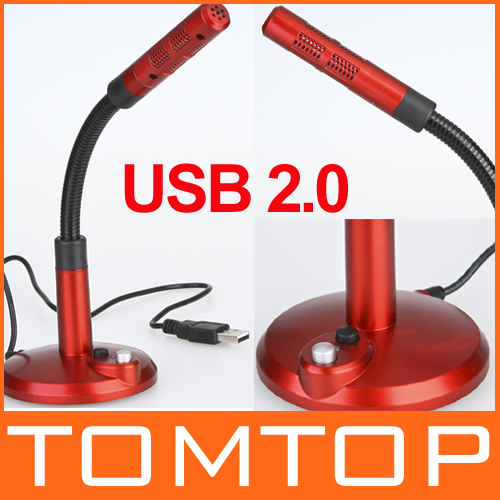 USB 2.0 Wired Desktop Microphone Mic for PC w/ Base 1.5M Cable Red, Free Shipping Drop Shipping