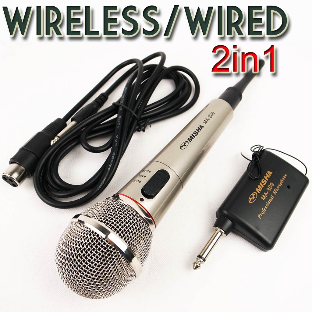 Pro Microphone Wireless Wired 2in1 Handheld Cordless Mic For Karaoke Singing DJ 1pcs/lot Retail and Wholesale