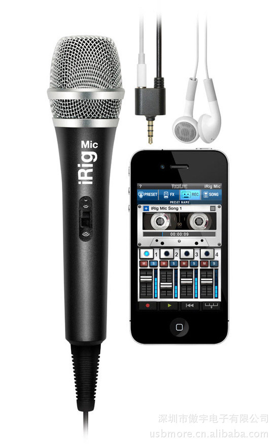 Free Shipping Retail Sale Ik Multimedia Mic Microphone for iPhone / iPad / iPod Touch,the first handheld Microphone