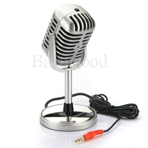 3.5mm 50's Retro PC Laptop Microphone Classic Vocal Mic Studio Record Old School. Free shipping