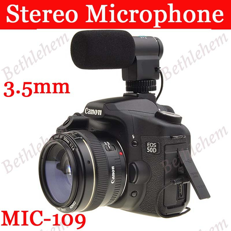 Pro Stereo 3.5mm Microphone Mic Jack for Camera and Camcorder Canon Nikon Sony Pentax Olympus