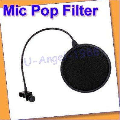 Free shipping +Studio Microphone Mic Wind Screen Pop Filter Mask Shied Black