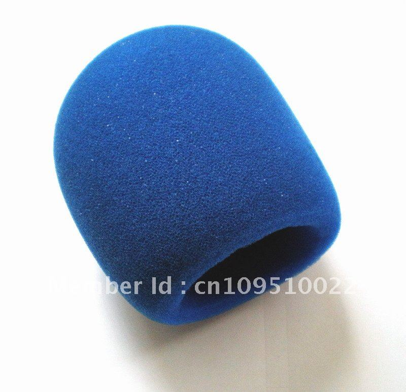Free shipping 5pcs blue Microphone Grill Foam Cover Audio Mic Shield cap sponge high quality