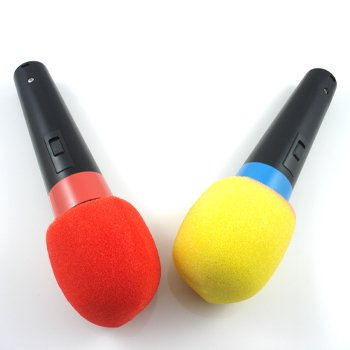 2 pcs Karaoke Handheld Microphone Foam Cover Yellow + Red Color Free Shipping