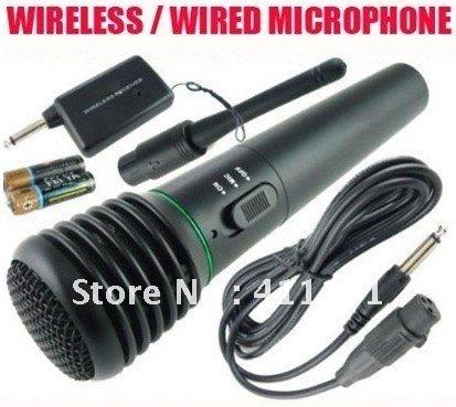HOT Microphone Wireless/Wired 2in1 Handheld Cordless Mic For Karaoke Singing DJ Free Shipping