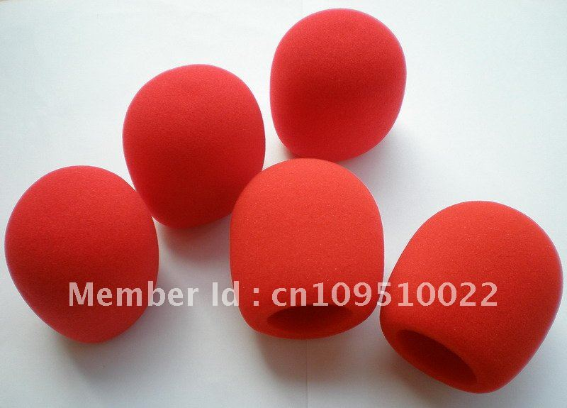 Free shipping 5pcs/lot red Microphone Grill Foam Cover Audio Mic Shield cap sponge