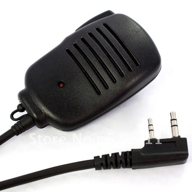 free shipping Speaker Mic 3.5mm headphone jack with red Light for KENWOOD Radio 2 PIN 8mm Black