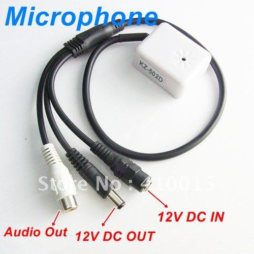 New Mini Mic Audio Microphone RCA Output Cable for CCTV Security DVR Camera