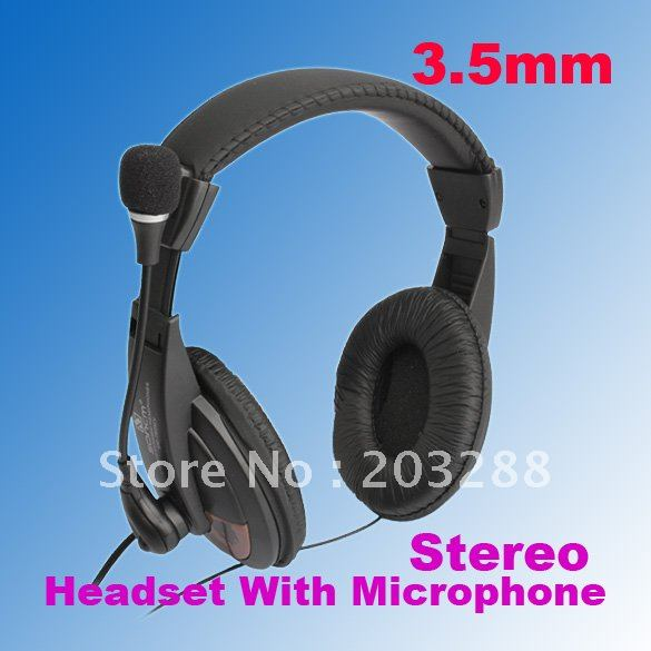 3.5mm Stereo Headset With Mic Bendable Microphone For Notebook Skype MSN Yahoo