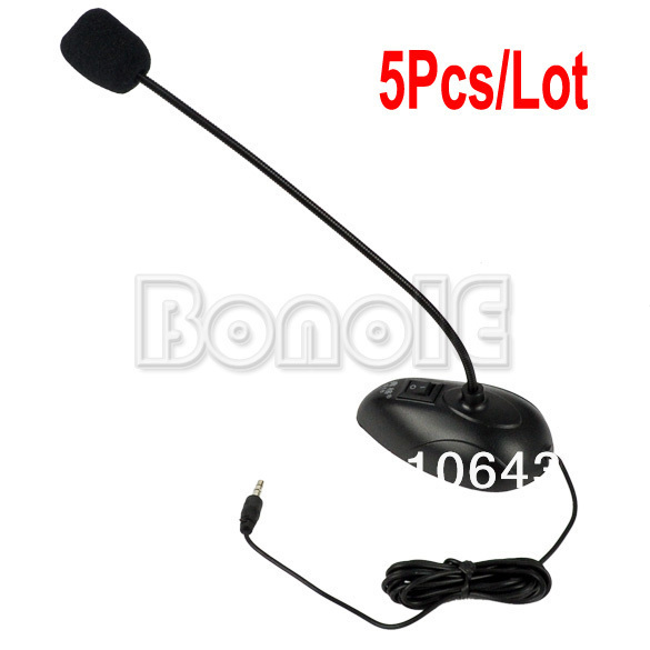 5Pcs/Lot Desktop Goose Neck Microphone Mic 3.5mm Stereo Audio Jack Noise Cancellation for PC Desktop Notebook Free Shipping 8856