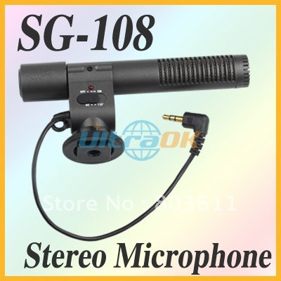 New SG-108 Shotgun DV Stereo wire Microphone for Canon Eos 600D 550D Rebel T3i T2i Camera  Black 45g DC 3V free shipping