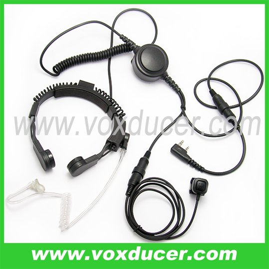 Noise cancelling detachable throat mic with clear tube for WOUXUN handheld radio KG-UVD1 KG-UVD1P KG669 KG659