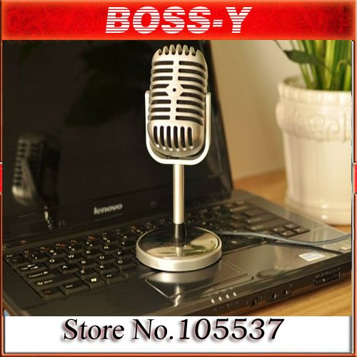 free shipping Nostalgic classic personality microphone,Microphone for your laptop & desktop,Network microphone,silver color