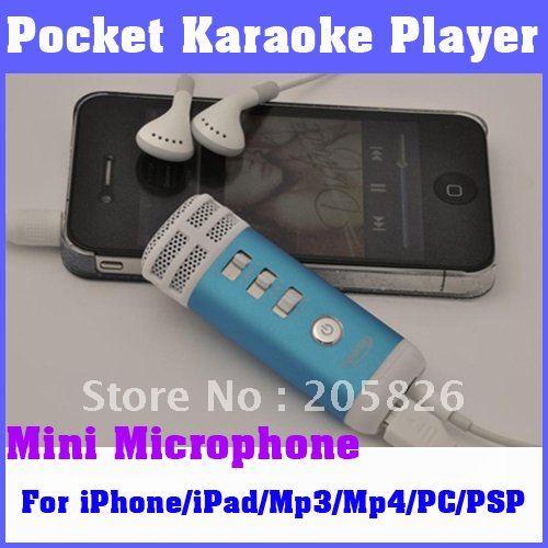 Free Shipping! Mini Pocket Microphone Karaoke Player Home KTV For iPhone/iPad/Mp3/Mp4/PC/PSP