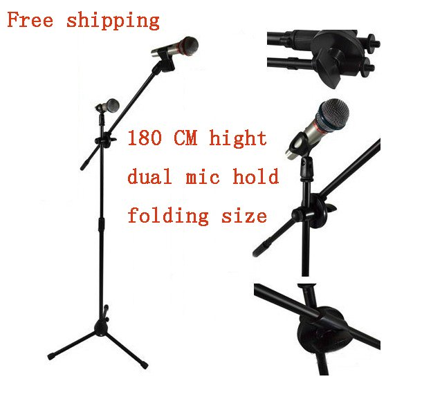 Free shipping Hight quality max height 180CM folding dual Microphone Stand