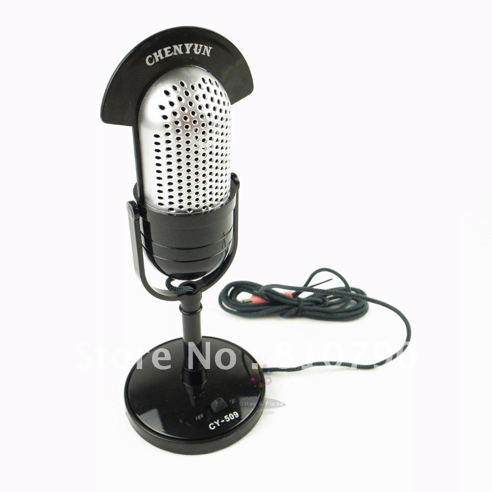 New Vintage Mini Mic Microphone For Laptop PC Desktop Computer Skype MSN Balck free shippiing 3pcs/lot