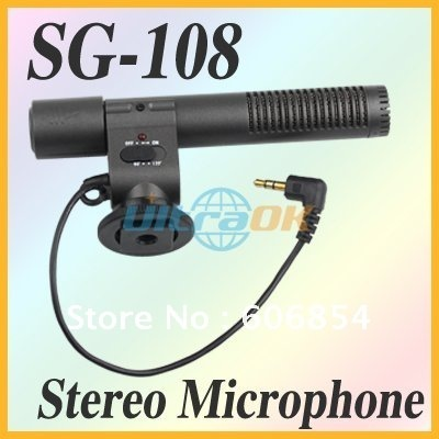 New wire SG-108 Shotgun DV Stereo Microphone for Canon Eos 600D 550D Rebel T3i T2i Camera DC 3V 45g free shipping