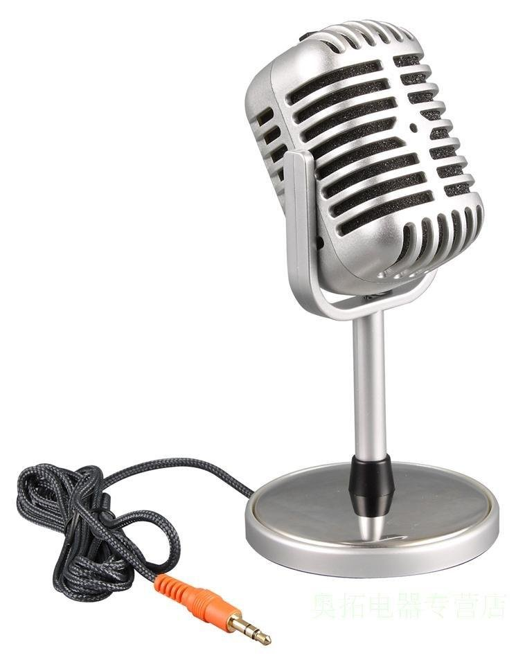 Microphone Stereo Laptop,Nostalgic Classic Personality Microphones,Microphone for Laptop Desktop Network PC,Mic Free Shipping