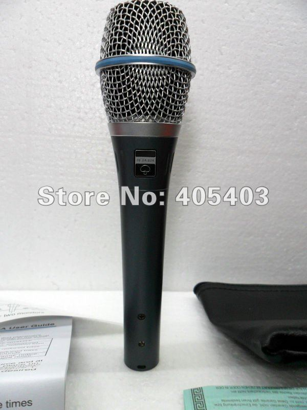 Free shipping 2pcs/lots TOP Quality  New boxed 87A  supercardioid hand-held electret condenser vocal microphone  beta87