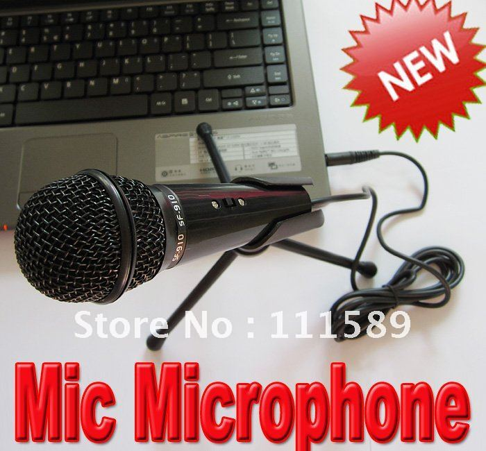 2pcs/lot Handheld Wired SF-910 Mic Microphone + Desktop mic stand Retail packaging Free shipping