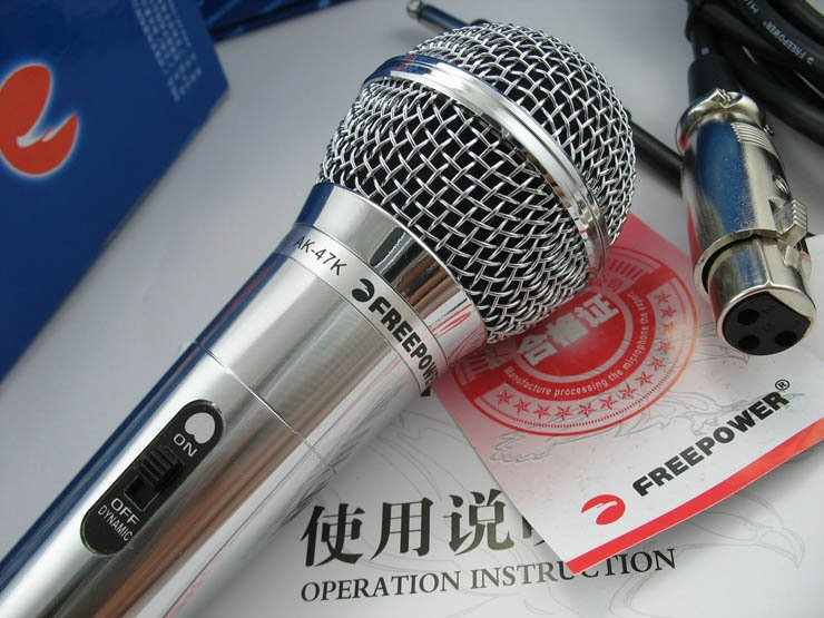 Free shipping EMS 20pcs/lot  AK47  professional   dynamic microphones  all-metal   KTV  Cable 4 meters