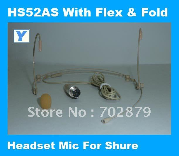Headset microphone with Flex and fold for wireless auido system-HS52AS