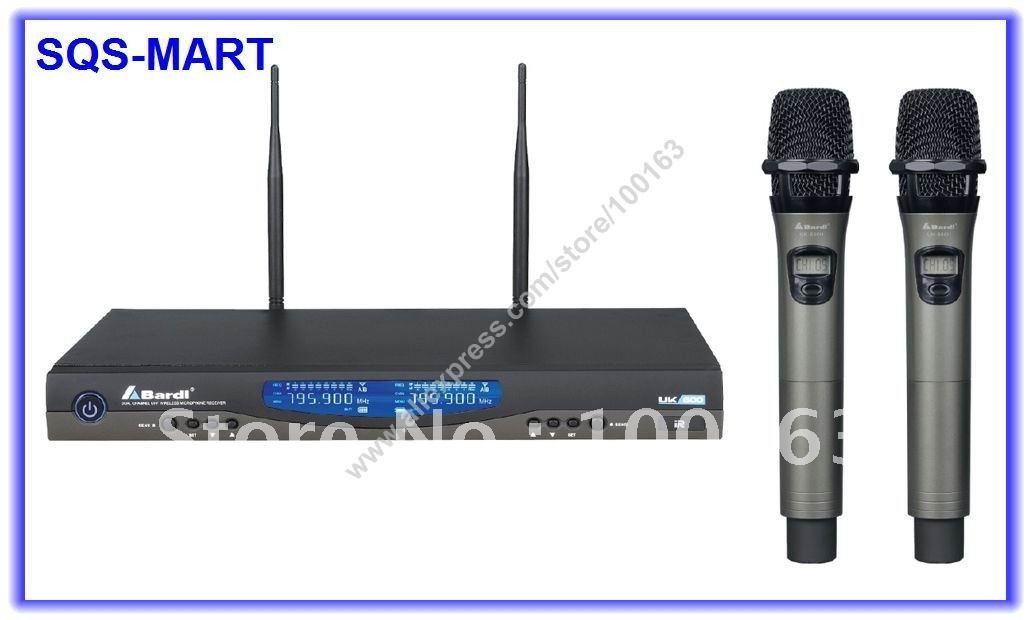 Bardl UHF Wireless DJ & Karaoke Microphone Mic System UK-600 LCD Display High quality Metal Casing CPU Controlled TS811