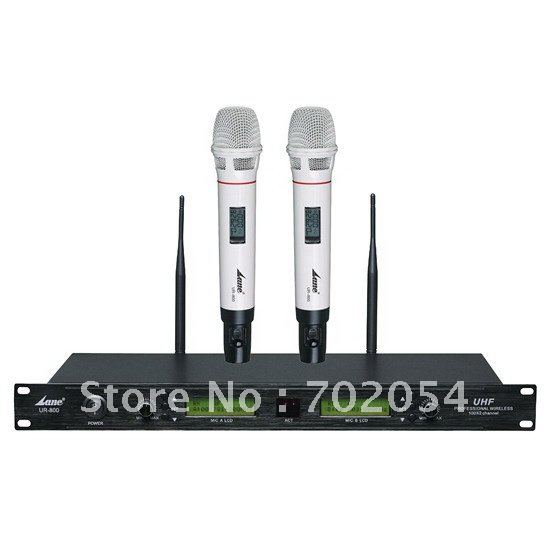 Lane UR-800 UHF Dual Channel White Handheld Wireless Microphone System karaoke microphone