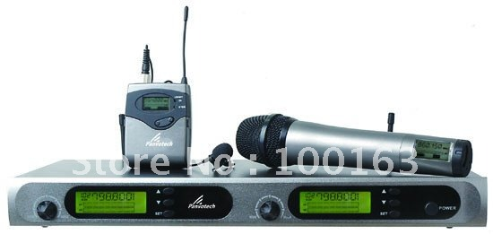 2x100 Channel UHF Diversity Wireless Microphone Mic System   Handheld or Lapel Lavaliere mic.
