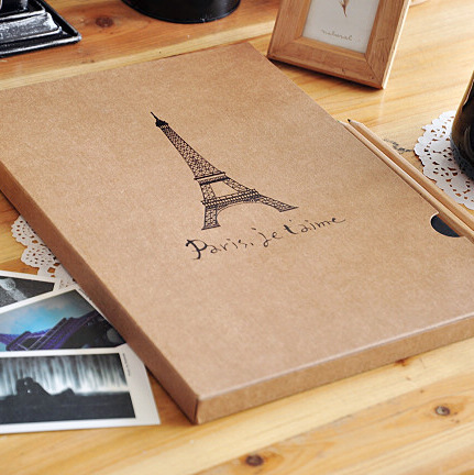 Love in eiffel tower photo album book photo album a4 cowhide eco-friendly diy corner posts