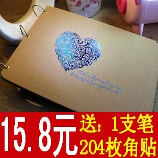 Gift cowhide paper diy photo album book paste type diy handmade baby photo album photo album corner posts