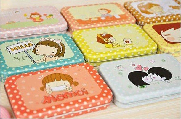 Freeshipping,Korea Style Single Sticker Carton Memo Sticker with tin case,Decoration label,20Set/lot(12pcs/set)
