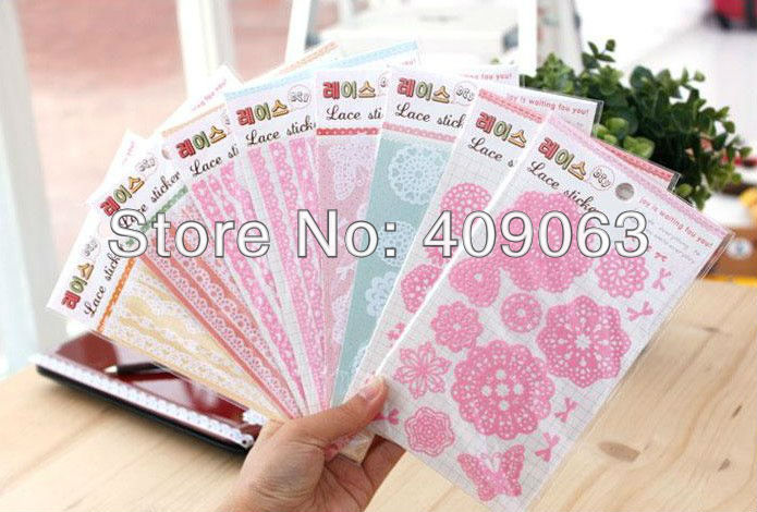 30packs/lot  Multifunction PVC Lace sticker Decorative DIY sticker stationery label /Office Adhesive free shipping