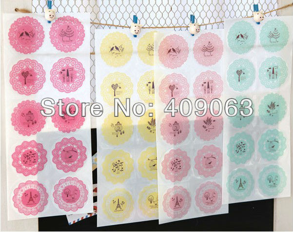 50sets/lot  Multifunction lace waterproof transparent PVC stickers Decoration label DIY Phone sticker free shipping