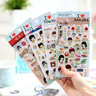 3D Kawaii Janpanese Girl PVC sticker/Multifunction/DIY Sticker/Mobilephone Sticker/Decoration label/Fashion/Wholesale