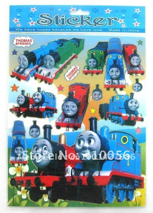 Free shipping!! Wholesale 50 Sheets Thomas & Friends PVC sticker cartoon sticker wall sticker
